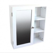 White Mirrored Wall Cabinet With 3 Side Shelves, Home, Bathroom, Storage, New