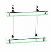 Luxxur ™ S022 Superior 2 Tier Flat Front Bathroom Glass Shelf Unit With Chrome -