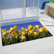 "Papillon 60 X 40 Cm Polyester ""yellow Tulips"" Super Absorbent Bathroom Mat"