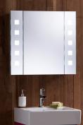 Led Illuminated Bathroom Mirrored Cabinet 60x65cm Demister, Shaver & Sensor C20