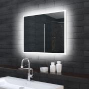 Bathroom Wall Mirror With Led Lighting 100 X 70 Cm Mle71000