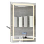 Demister Mirror Illuminated Led Mirror With Shaver Socket And Clock Sensor On X