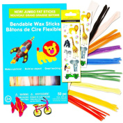 Bendable Wax Sticks For Kids Super Set -- 50 Jumbo Sculpting Sticks (10 Colours) with Bonus Stickers