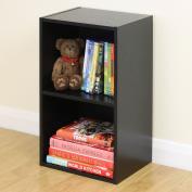2 Tier Wooden Black Cube Bookcase Storage Unit Shelving/shelv