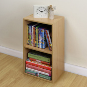 2 Tier Wooden Beech Cube Bookcase Storage Unit Shelving/shelv