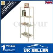 4 Tier White Ladder Shelf Display Unit Free Standing Book Stand Shelves Storage