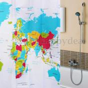 180x180cm 72 Inch 12 Hooks World Map Bathroom Waterproof Polyster Shower Curtain