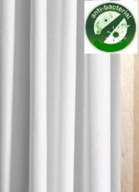 WHITE ANTI-BACTERIAL FABRIC SHOWER EXTRA LONG AND EXTRA WIDE CURTAIN WITH WEIGHTED HEM 213.5CM X 213.5CM - MACHINE WASHABLE