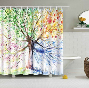 Elegant Rainbow Tree 3d Effect Peva Waterproof Shower Curtain With 12 Rust Proof