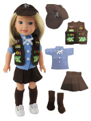Brownie Girl Scouts Outfit for Wellie Wisher Dolls - 36cm Dolls | Fits 36cm American Girl Wellie Wisher Dolls| 36cm Doll Clothes