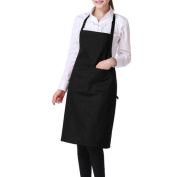 Gemini_mall® Plain Unisex Cooking Catering Work Apron with Double Pocket - Black