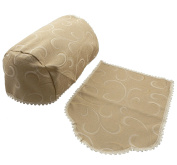 2 WIDE (LARGE) CHAIR ARM COVERS AND 1 CHAIR BACK, DEEP BEIGE COLOUR IN A WOVEN CLIMBING VINE DESIGN. MADE IN UK FROM QUALITY POLY / COTTON FABRIC