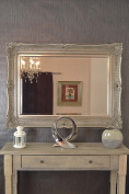 Beautiful Large Silver Very Ornate Big Wall Mirror 4ft X 3ft