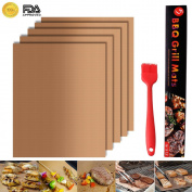 Grill Mat Set of 5 - 100% Non-stick BBQ Grill & Baking Mats for Charcoal, Gas or Electric Grills, or Cooking & Baking - Easy to Clean - Dishwasher Safe - Lifetime Waranty