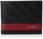 New Guess Mesa Men's Black & Red Leather ID Passcase Billfold Wallet