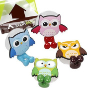Avery Barn 4pc Owl Design Silicone Bathroom Suction Cup Toothbrush Holder