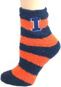 NCAA Illinois Fignting Illini Striped Fuzzy Lounge Socks