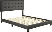 Flex Form Murphy Upholstered Faux Leather Platform Bed Frame with Hardwood Slats, Black, Queen