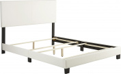 Flex Form Montana Upholstered Faux Leather Platform Bed Frame with Hardwood Slats, White, Full
