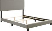 Flex Form Montana Upholstered Faux Leather Platform Bed Frame with Hardwood Slats, Grey, Full