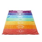 Mchoice Bohemia Printing Shawl Tassels Tapestry Beach Picnic Throw Yoga Mat Towel Blanket
