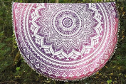 Peacock Design Mandala Print Printed Bohemian Round Roundie Hippy Gypsy Beach Collection Throw With Pom Pom