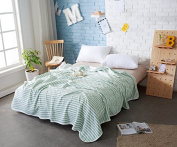 Mangogo Summer Baby Kids Bedding Quilt Knitted Cotton Stripe Pattern White and Green Twin Size