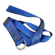 OrliverHL Canvas Web Belt Double D-Ring Buckle with Leather Tip,Blue