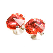 Sterling Silver stud earrings expertly made with Padparadscha (Pink Sapphire) crystal from ® for Women