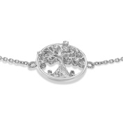 Tuscany Silver Sterling Silver Cubic Zirconia Tree of Life Adjustable Bracelet