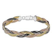 Tuscany Silver Sterling Silver 4 Tone 3 Plait Willow Herringbone Bracelet of Length 19cm19