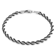 Tuscany Silver Sterling Silver Men's Oxidised Satin twist Bracelet of Length 19cm19
