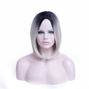 36cm Ombre Bob Wig Short Straight Synthetic Wigs For Black Women Heat Resistant Female White Hair Wig