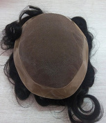 "Quercy Hair 130% Density Men Hair Toupee 7""9"" Size, Black Colour, Hair Length 6 Inch"
