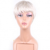 HAIR WAY Short Human Hair Wigs for Women Capless None Lace Full Machine Made 100% Pure Human Hair Wigs White for Daily Wear #60