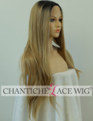 Chantiche Long Straight Blonde Wigs UK Mixed Light Blonde Hair Lace Front Wig for Natural Looking Ombre Dark Roots Synthetic Hair Heat Resistant Fibre Half Hand Tied 60cm by Chantiche