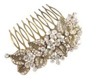 Pick A Gem Wedding Hair Accessories Vintage Gold Austrian Crystal Impressive Embellished Hair Comb by Pick A Gem Hair Accessories