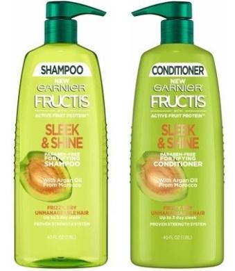 Garnier Fructis Shampoo & Conditioner Set Sleek & Shine, 1180ml Each