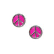 Studex Sensitive 5mm Pink Peace Sign Motif Stainless Steel Stud Earrings