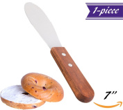 18cm Sandwich and Butter Spreader, Wide Stainless Steel Blade with Wooden Handle, Straight Edge Jam Cream Cheese Condiment Spreader Knives, Professional Kitchen Tool.