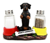 Atlantic Collectibles Adorable Black & Tan Dachshund Dog Decorative Glass Salt Pepper Shakers Holder Figurine Sausage Wiener Dog Collectible