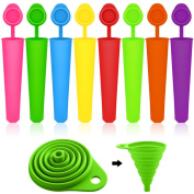 Popsicle Moulds Set with Collapsible Funnel, SENHAI 8 Packs Silicone Ice Pop Ice Cream Makers, with 1 Green Folding Funnel for Fluid Transferring