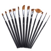 Ngwall Paint Brush Set (Black 12pcs) Round Tip Nylon Hair Stylist Acrylic Watercolour Oil Painting, Easy to Clean