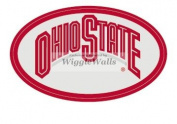 10cm Oval Logo Grey Red OSU Ohio State University Buckeyes Removable Wall Decal Sticker Art NCAA Home Decor 6.4cm