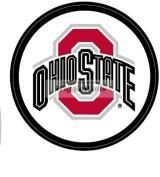 10cm Round O Logo Red Grey Black OSU Ohio State University Buckeyes Removable Wall Decal Sticker Art NCAA Home Decor 10cm wide by 25cm tall