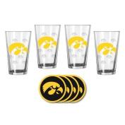 NCAA Iowa - Satin Etched Pint Glasses & Beverage Coasters Set | Iowa Hawkeyes Beverage Set