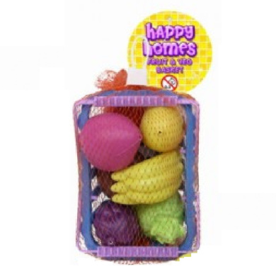 Fruit And Veg Shopping Basket Toy Pretend Food Grocery Vegetable Plastic Toy