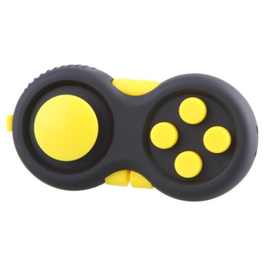 Fidget Hand Shank 9 Sides Fidget Controller Pad Magic Cube Toy Relieves Stress and Anxiety for Children and Adults (yellow)