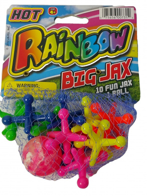 Hot Rainbow BIG JAX Retro 1 Large Hi-Bounce Ball & 10 Large Colourful Rubber Jacks In/Outdoor Toy