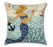 OrliverHL Creative Cartoon Mermaid Printed Blend Square Hugging Pillow Cover Bedding Set pillow case wedding kids gift ,3#